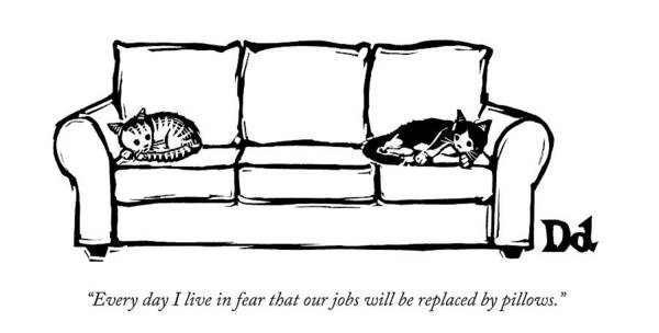 Couch Wall Art - Drawing - Two Cats Curl Up At Each End Of A Sofa by Drew Dernavich