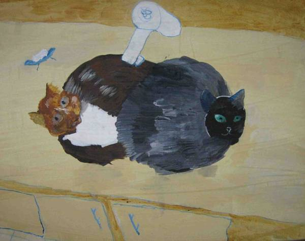 Painting - Two Cats In A Sink by AJ Brown