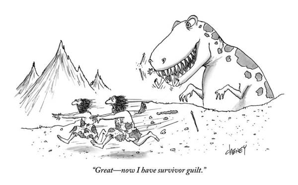 Dinosaurs Drawing - Two Cavemen Are Seen Talking As They Run Away by Tom Cheney