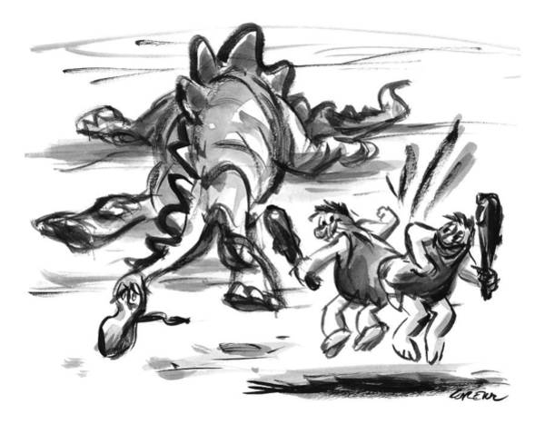 Dinosaurs Drawing - Two Cavemen Do A Butt-bump Beside A Slain by Lee Lorenz
