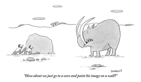 September 5th Drawing - Two Cavemen Out Hunting Hide Behind A Rock by Liza Donnelly