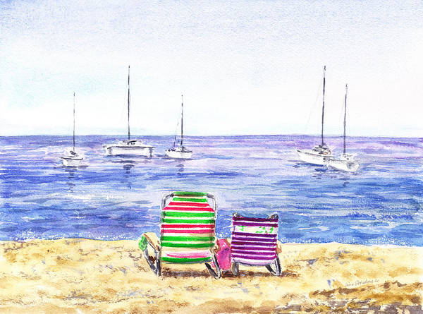 Two Chairs On The Beach Art Print