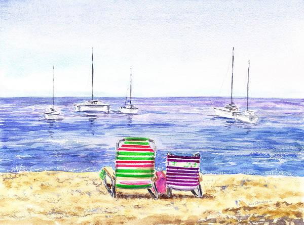Wall Art - Painting - Two Chairs On The Beach by Irina Sztukowski