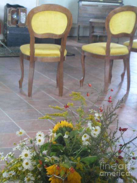 Photograph - Two Chairs With Flowers by Eva-Maria Di Bella