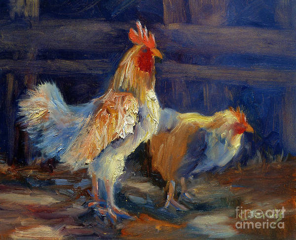 Painting - Two Chickens by Carolyn Jarvis