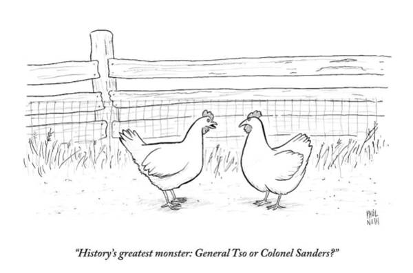 Chicken Drawing - Two Chickens Discuss History by Paul Noth