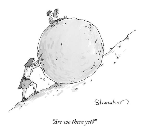 Parents Drawing - Two Children Sit At The Top Of Sisyphus's Boulder by Danny Shanahan