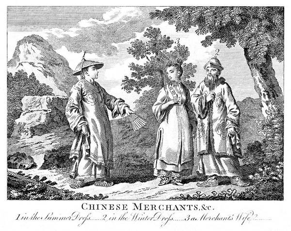 Wall Art - Drawing - Two Chinese Merchants, One In Summer by Mary Evans Picture Library