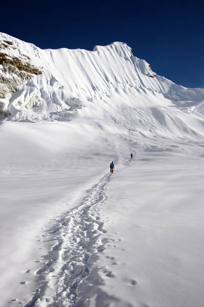 Fisher Island Photograph - Two Climbers Near The Top Of 6000 Meter by Mark Fisher
