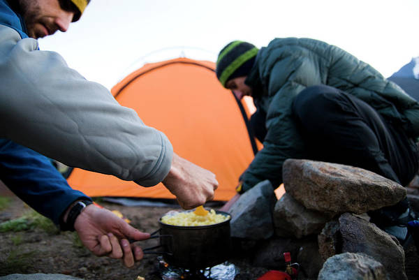 Campsite Wall Art - Photograph - Two Climbers Prepare A Back Country by Michael Hanson