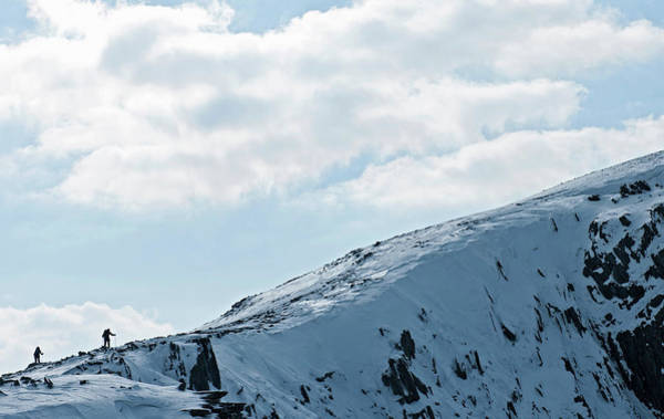 Look Away Photograph - Two Climbers Silhouetted Along Snow by Henn Photography