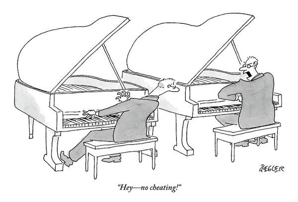 Side Drawing - Two Concert Pianists Play Side-by-side by Jack Ziegler