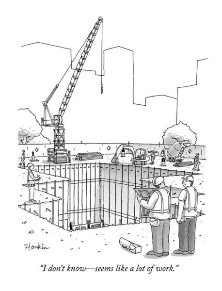 Wall Art - Drawing - Two Construction Workers Look Out Over A Massive by Charlie Hankin