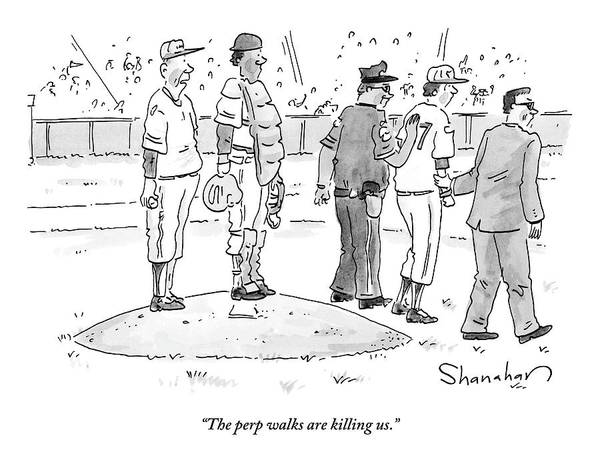 August 5th Drawing - Two Cops, One In Plain Clothes, Arrest A Pitcher by Danny Shanahan