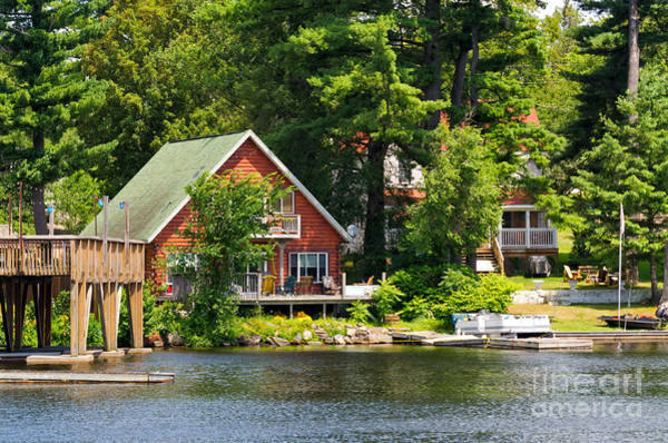 Photograph - Two Cottages On A Lake by Les Palenik