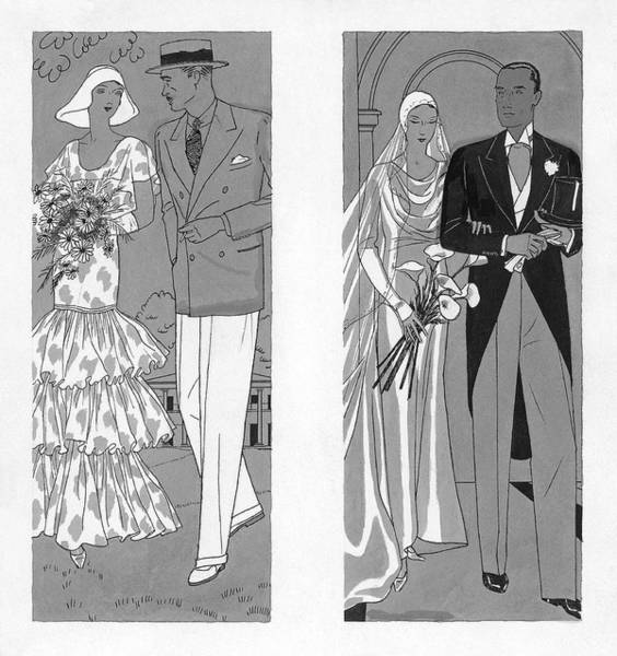Black And White Digital Art - Two Couples Getting Married by Pierre Mourgue