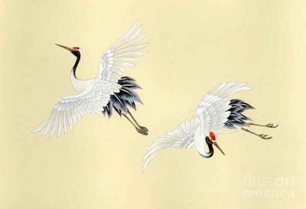 Japanese Art Digital Art - Two Cranes by MGL Meiklejohn Graphics Licensing