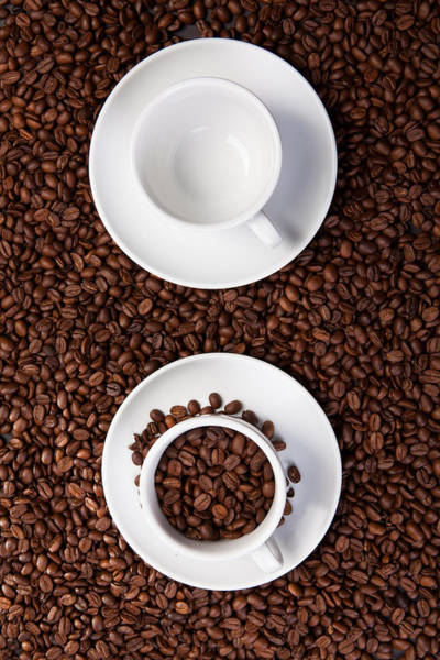 Photograph - Two Cup With Coffee Beans by Raimond Klavins