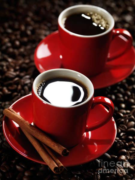Coffee Mug Photograph - Two Cups Of Coffe On Coffee Beans by Oleksiy Maksymenko