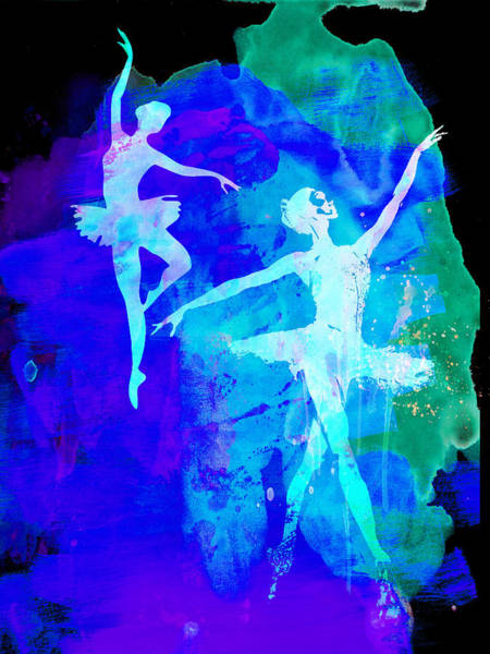 Wall Art - Painting - Two Dancing Ballerinas  by Naxart Studio