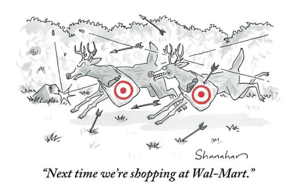 Target Drawing - Two Deer With Red Target Shopping Bags Dodge by Danny Shanahan
