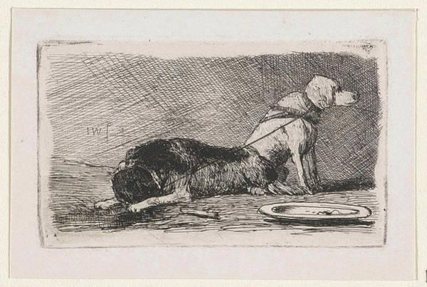 Saucer Drawing - Two Dogs, Print Maker Jan Weissenbruch by Jan Weissenbruch
