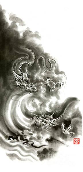 Sumi Wall Art - Painting - Two Dragons Gold Fantasy Dragon Design Sumi-e Ink Painting Dragon Art by Mariusz Szmerdt