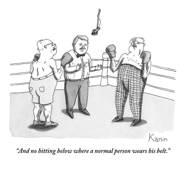 Boxing Drawing - Two Elderly Men Meet In A Boxing Ring by Zachary Kanin