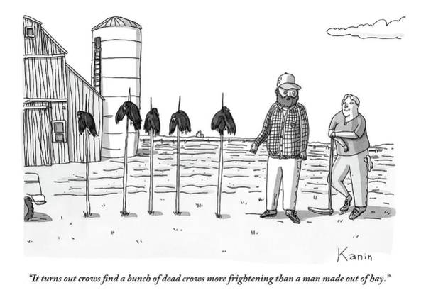 Farmer Drawing - Two Farmers Stand Next Two Five Dead Crows by Zachary Kanin