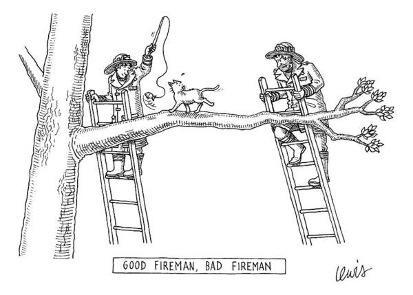 Kitten Drawing - Two Firemen Stand On Ladders At Either End by Eric Lewis