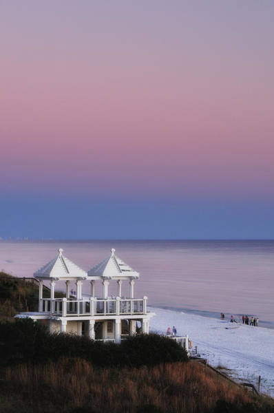 Grayton Beach Photograph - Two For Joy - Twin Gazebos At Twilight by Photography  By Sai