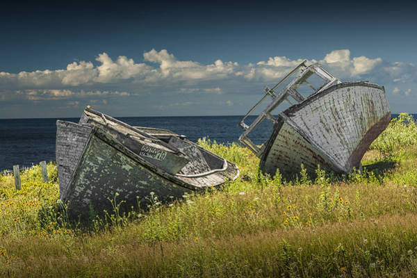 Photograph - Two Forlorn Abandoned Boats On Prince Edward Island by Randall Nyhof