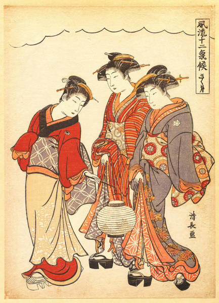 Wall Art - Painting - Two Geisha Preceded By A Maid Carrying A Lantern by Torii Kiyonaga