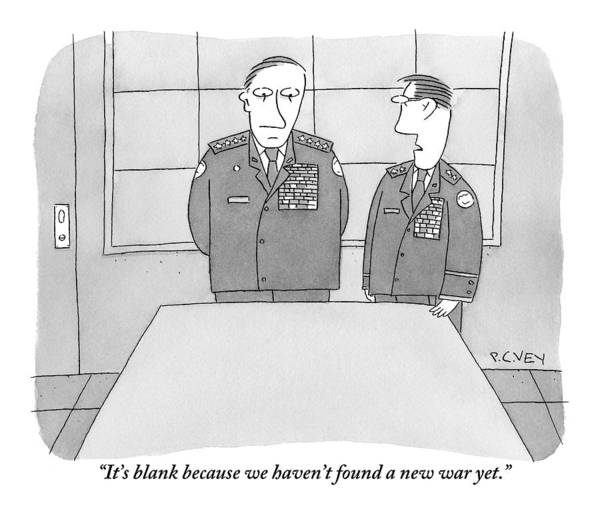 April 9th Drawing - Two Generals Speak While Looking At A Blank Map by Peter C. Vey