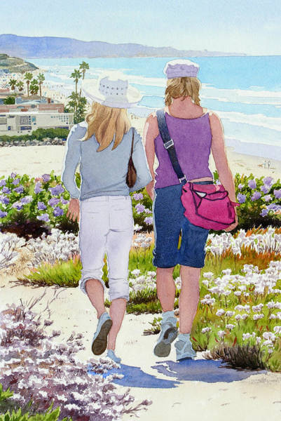 California Landscape Painting - Two Girls At Dog Beach Del Mar by Mary Helmreich