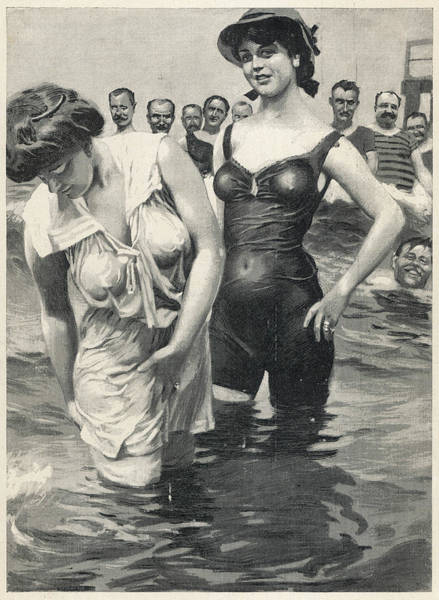 Bather Drawing - Two Girls Attracting Male  Attention by Mary Evans Picture Library