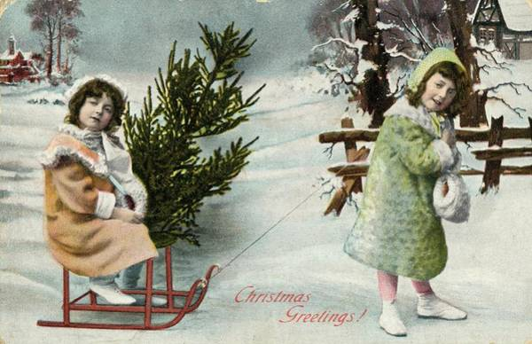 Fetch Photograph - Two Girls Have Found A Suitable Tree by Mary Evans Picture Library