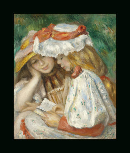 Painting - Two Girls Reading Duvet by Renoir
