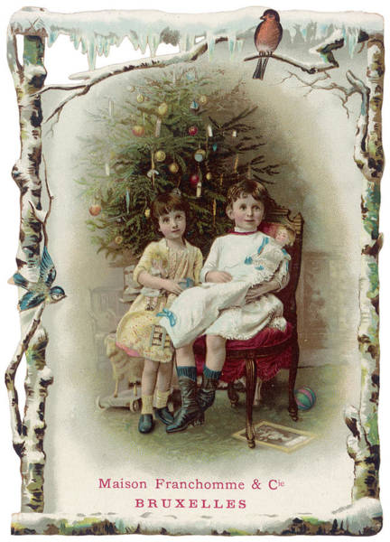 Christmas Tree Drawing - Two Girls Sit By The Tree by Mary Evans Picture Library
