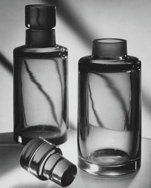 Metallic Photograph - Two Glass Decanters by Peter Nyholm