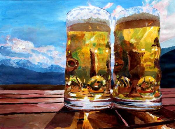 Bier Painting - Two Glasses Of Beer With Mountains by M Bleichner