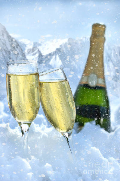 Photograph - Two Glasses Of Champagne With Bottle In Snow by Sandra Cunningham