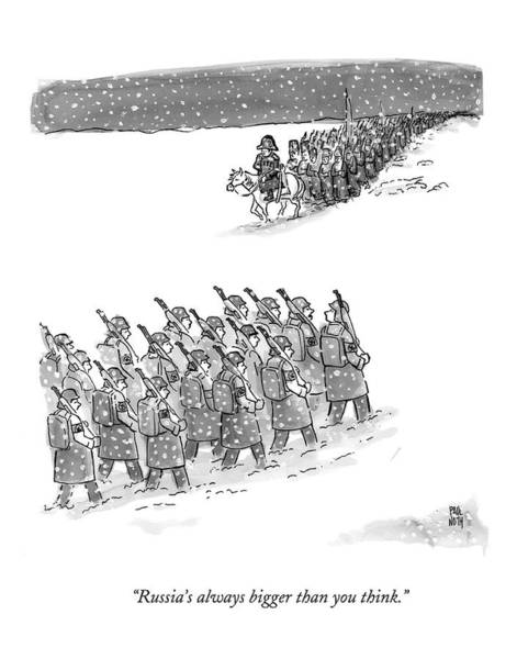 Big Drawing - Two Groups Of Army Troops Walk In Opposite by Paul Noth