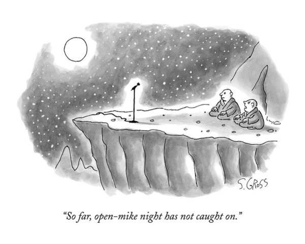 Guru Drawing - Two Gurus Sit On A Mountain Ledge At Nighttime by Sam Gross