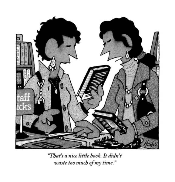 Wasted Drawing - Two Guys Discuss The Value Of Books At A Library by William Haefeli
