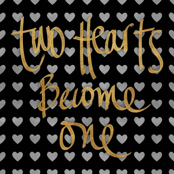 Text Wall Art - Digital Art - Two Hearts Become One Pattern by South Social Studio