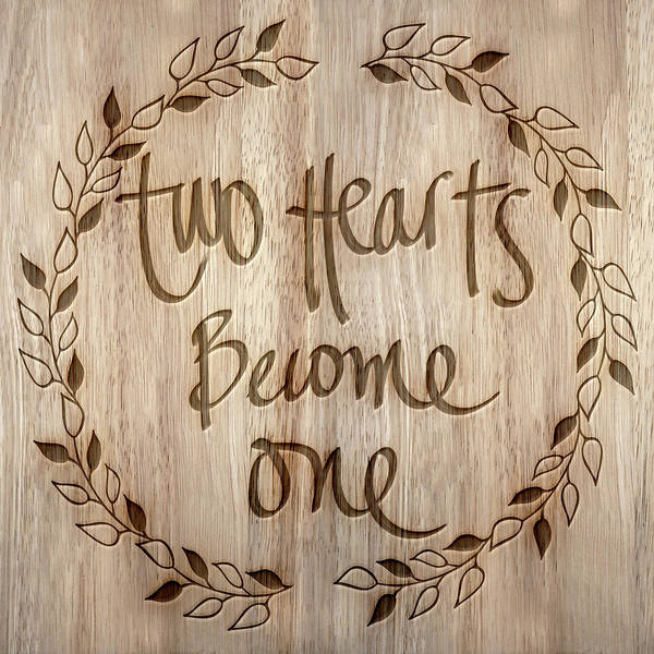Become One Wall Art - Mixed Media - Two Hearts Become One by South Social Studio