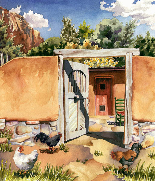 Painting - Two Hens And A Rooster At Ghost Ranch by Anne Gifford