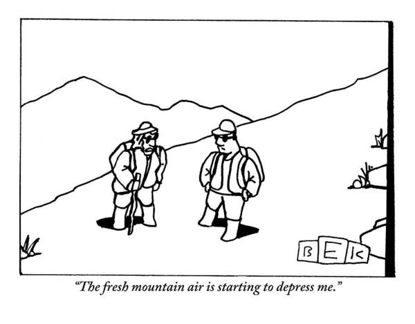Hiking Drawing - Two Hikers Are Talking To Each Other Outdoors by Bruce Eric Kaplan