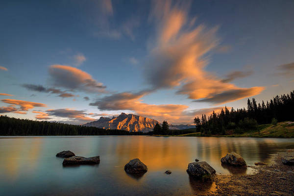 Lake Shore Wall Art - Photograph - Two Jack Lake Sunset by Hua Zhu